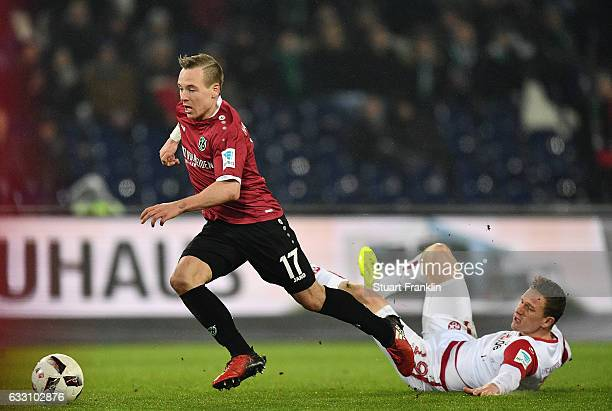 Uffe Manich Bech of Hannover scores his goal during the Second Bundesliga match between Hannover 96 and 1 FC Kaiserslautern at HDIArena on January 30...