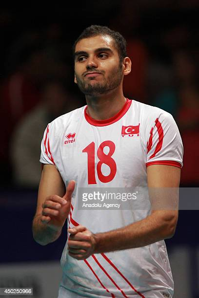 Ufuk Minici of Turkey reacts during the volleyball match between Turkey and Mexico in second day of the Voleyball World League in Mexico City on June...