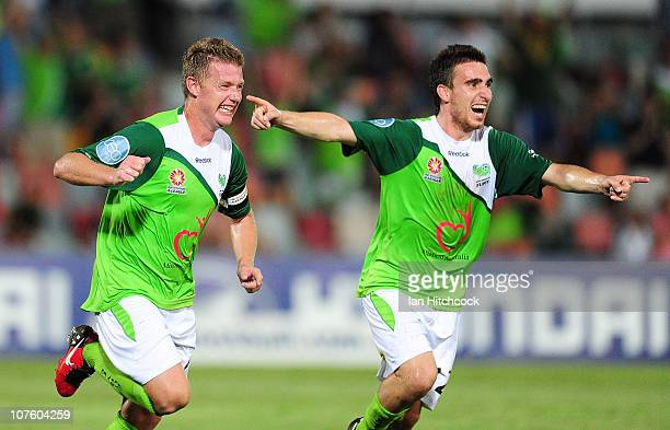 Ufuk Talay of the Fury celebrates his goal with Panagiotis Nikas during the round 18 ALeague match between the North Queensland Fury and Sydney FC at...