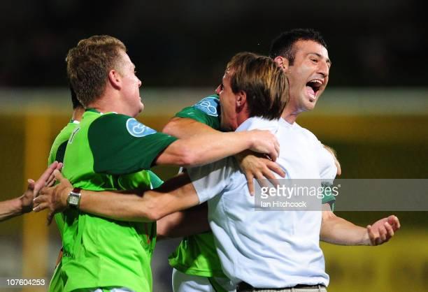 Ufuk Talay of the Fury celebrates his goal with Ramazan Tavsancioglu and coach Frantisek Straka during the round 18 ALeague match between the North...