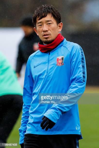 Ugajin Tomoya of Urawa Red Diamonds attends the training session before the AFC Champions League Final second leg match between Urawa Red Diamonds...
