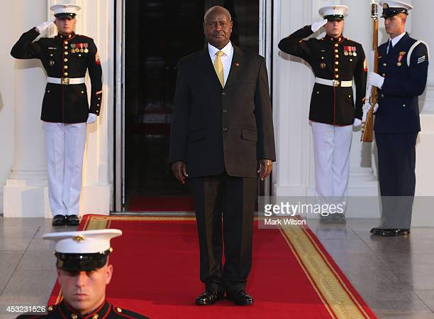 Uganda President Yoweri Museveni arrives at the North Portico of the White House for a State Dinner on the occasion of the US Africa Leaders Summit...