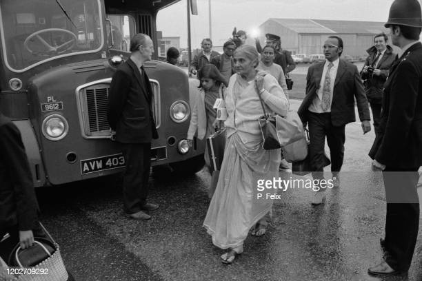 Ugandan Asian refugees arriving at Stansted Airport in Essex 18th September 1972 They are some of the 27000 Ugandan Asians to arrive in Britain after...
