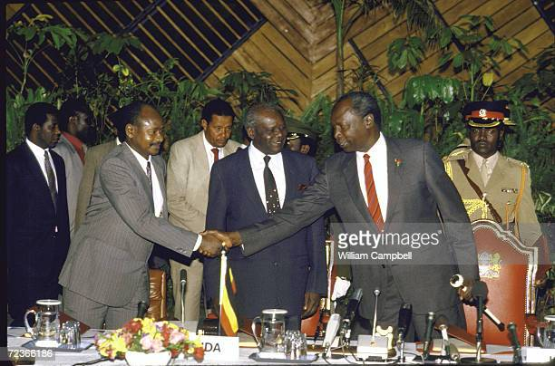 Ugandan Leader Lt General Tito Okello during signing ceremony of peace treaty with his rival Yoweri Museveni mediated by President Daniel Arap Moi...