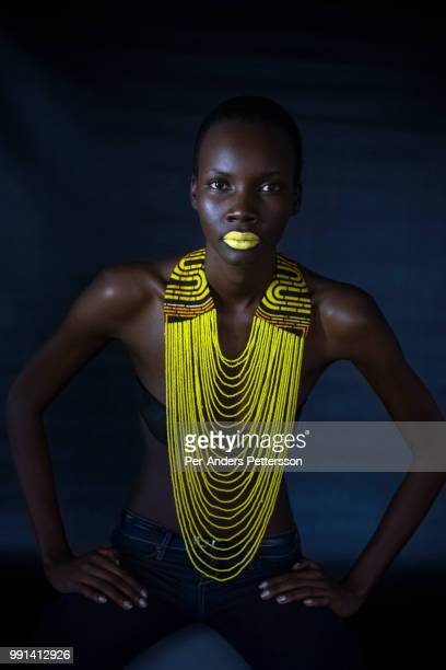 Ugandan model Patricia Akello wears a necklace by the Ugandan label Halisi on January 3 in Cape Town South Africa She is one of many models from...