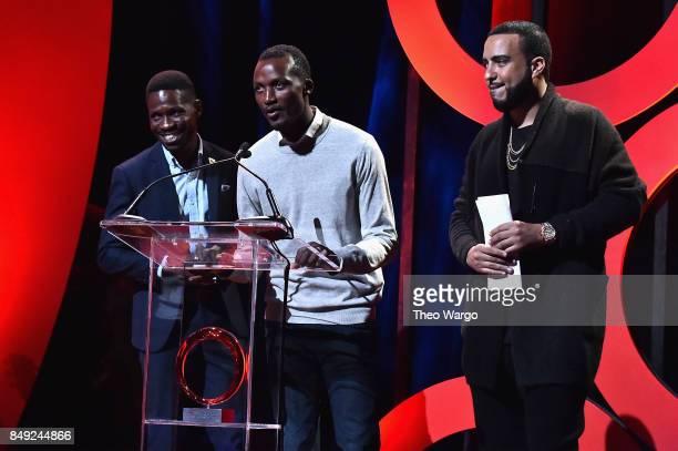 Ugandan MP Bobi Wine hip hop artist French Montana and activist Denis Muwanguzi speak onstage during Global Citizen Live at NYU Skirball Center on...