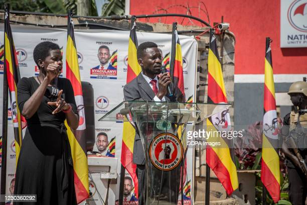 Ugandan opposition Presidential Candidate, Robert Kyagulanyi Ssentamu commonly known as Bobi Wine, speaks during a press conference at the...