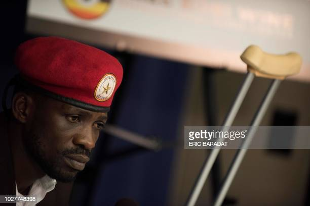 Ugandan politician Robert Kyagulanyi better known as pop star Bobi Wine gives a press conference on September 6 2018 in WashingtonDC for the first...