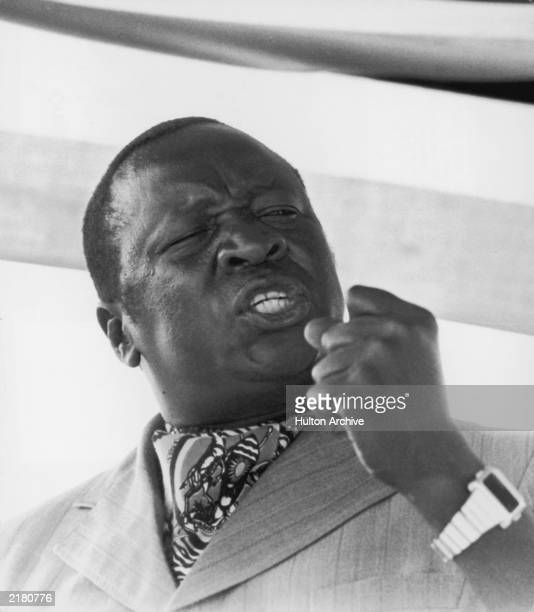 Ugandan President Idi Amin making a speech at an Organization of African Unity Information Ministers meeting in 1978