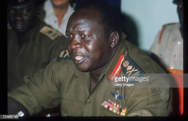 Ugandan President Idi Amin speaks during a press conference October 1973 in Uganda Amin a major general and commander of the armed forces in 1968...