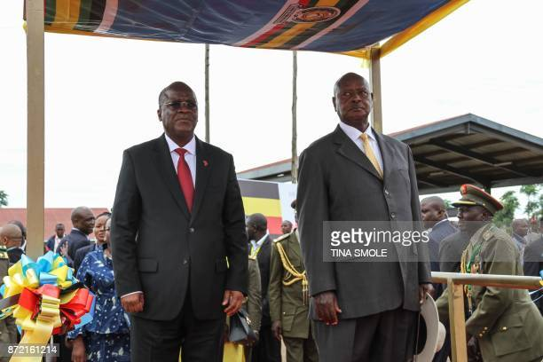 Ugandan President Yoweri Kaguta Museveni and Tanzanian President John Magufuli attend the launching ceremony of a onestop border post and the laying...