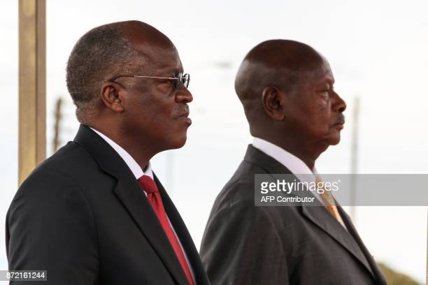 Ugandan President Yoweri Kaguta Museveni and Tanzanian President John Magufuli attend the launching ceremony of a onestop border post to speed up...