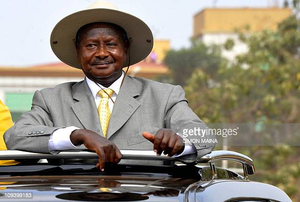 Ugandan president Yoweri Museveni arrives to a rally in Kampala Uganda on February 16 two days before the elections where he will run against a...