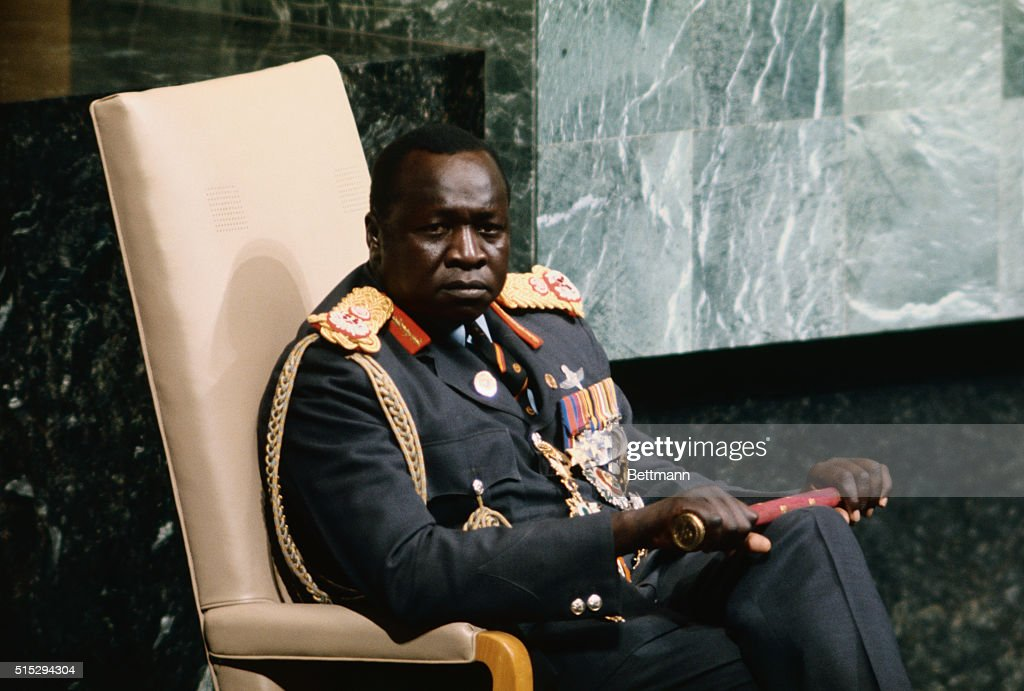Ugandan President-for-Life Idi Amin sits listening to the text of his speech being delivered by the Ugandan UN ambassador. Amin's brief introduction was in Swahili.