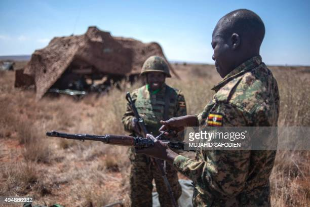 Ugandan soldiers along with others from different African countries take part in the AMANI AFRICA II the first military exercise of the African...