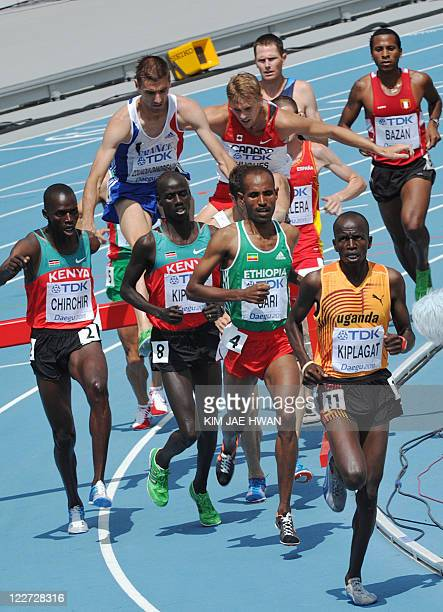 Uganda's Benjamin Kiplagat competes in the men's 3000 metres steeplechase heats at the International Association of Athletics Federations World...