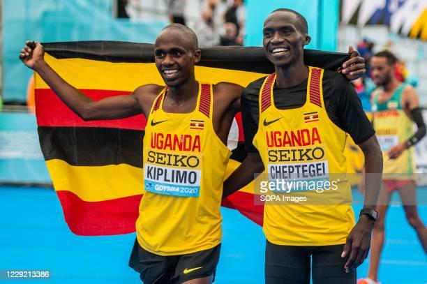 Uganda's Jacob Kiplimo and Joshua Cheptegei are after the race of 2020 IAAF World Half Marathon Championships in Gdynia