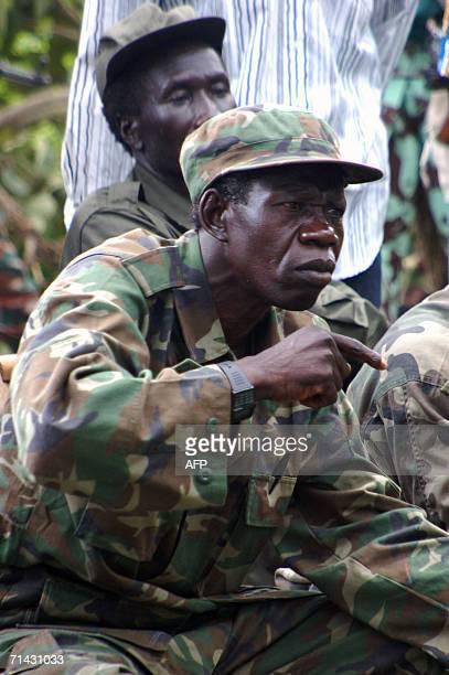Uganda's Lord's Resistance Army deputy chief Vincent Otti meets13 July 2006 in the jungle along the Sudan-Democratic Republic of Congo border where...