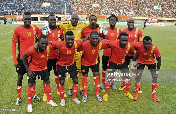 Uganda's national football team players pose prior to the 2017 African Cup of Nations qualification football match between Burkina Faso and Uganda on...