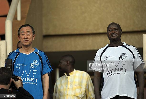 Uganda's President Yoweri Museveni [R] and UN Secretary General, Ban Ki-moon [L] May 30, 2010 arrive to take part in a football match at Mandela...