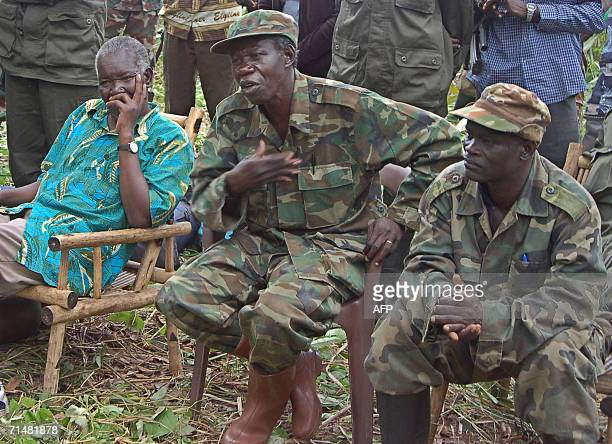 Uganda's rebel leader Joseph Kony's second in command Vincent Otti talks 12 July 2006 in a clearing in Nabanga south Sudan near the Ugandan and DR...