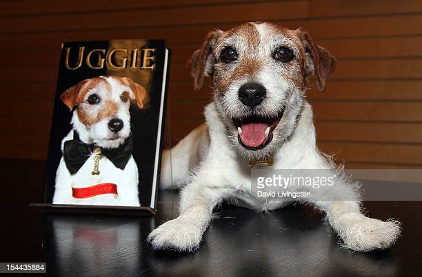 "Uggie the dog attends a signing for ""Uggie: My Story"" at Barnes & Noble 3rd Street Promenade on October 19, 2012 in Santa Monica, California."