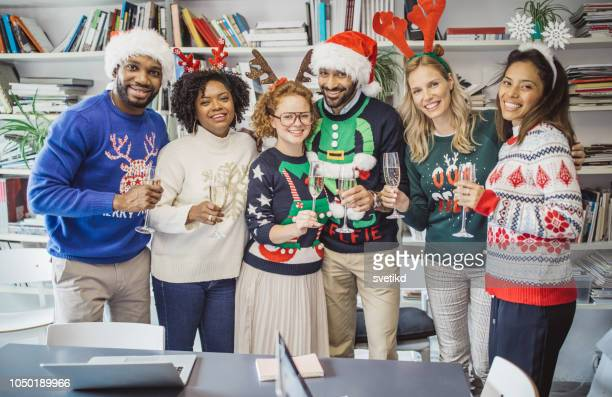 ugly sweater day at work - ugly asian woman stock photos and pictures