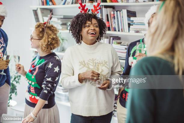ugly sweater day in office - ugly asian woman stock photos and pictures