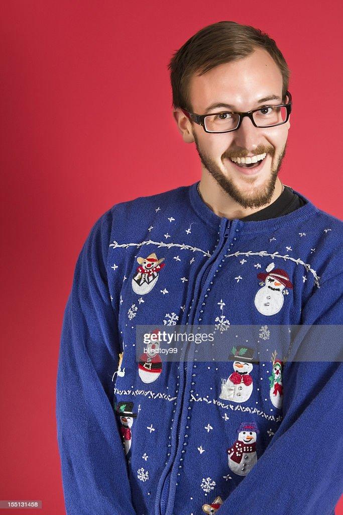 Ugly sweater geek : Stock Photo