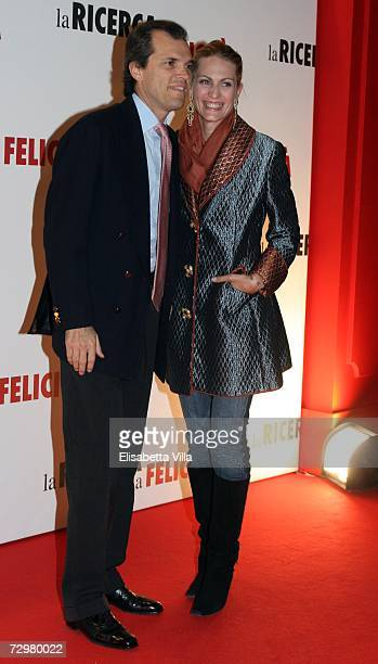 Ugo Brachetti Peretti and wife Isabella Borromeo attend the 'Pursuit Of Happyness' premiere at the Auditorium Conciliazione on January 11 2007 in...