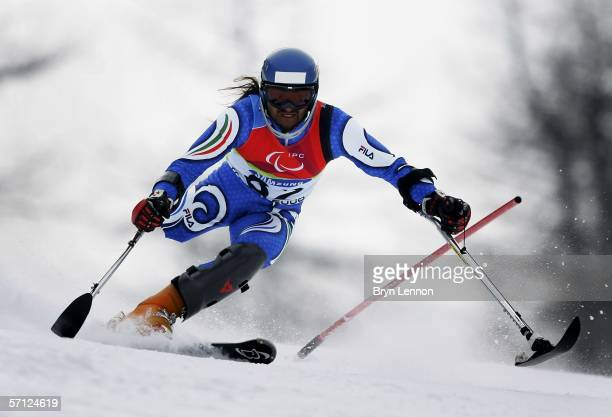 Ugo Bregant of Italy in action during the Men's Standing Slalom during day eight of the 2006 Paralympic Winter Games on March 18 2006 in Borgata Italy