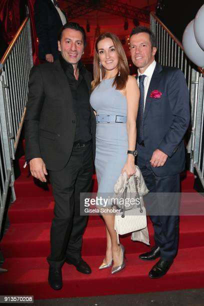 Ugo Crocamo and his girlfriend Melanie Fischer Lothar Matthaeus during Michael Kaefer's 60th birthday celebration at Postpalast on February 2 2018 in...