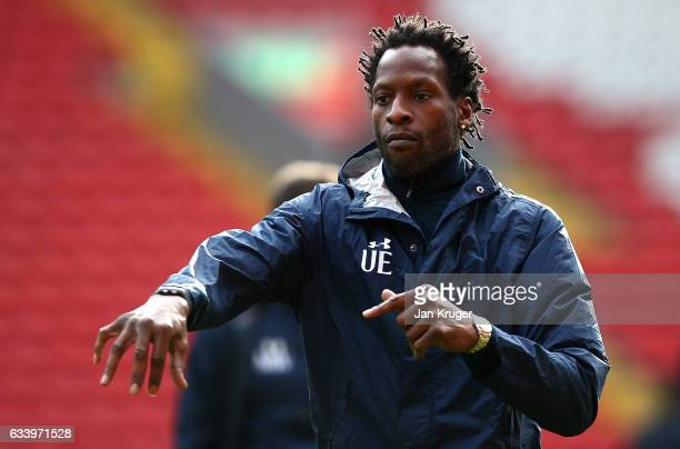 Ugo Ehiogu coach of Tottenham Hotspur looks on during the Premier League 2 match between Liverpool and Tottenham Hotspur at Anfield on February 5...