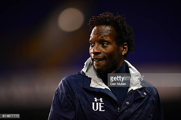 Ugo Ehiogu Coach of Tottenham Hotspur looks on prior to the Premier League 2 match between Tottenham Hotspur and Manchester City at White Hart Lane...