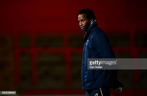 Ugo Ehiogu Coach of Tottenham Hotspur looks on prior to the Premier League Two match between Tottenham Hotspur and Southampton at The Lamex Stadium...