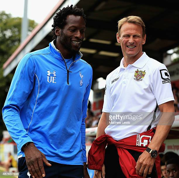Ugo Ehiogu manager of Tottenham XI and Teddy Sheringham Manager of Stevenage look on during a preseason friendly match between Stevenage and...
