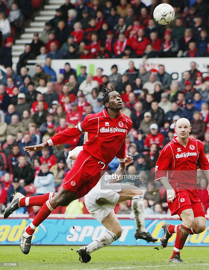 Ugo Ehiogu of Boro clears from danger during the FA Barclaycard Premiership match between Middlesbrough and Bolton Wanderers at The Riverside Stadium on April 3, 2004 in Middlesbrough, England.