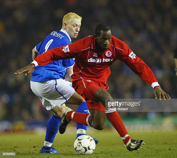 Ugo Ehiogu of Middlesbrough avoids a tackle from Mikael Forssell of Birmingham City during the Barclaycard Premiership match between Birmingham City...