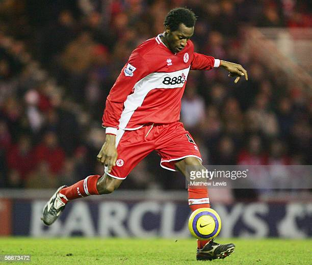 Ugo Ehiogu of Middlesbrough in action during the Barclays Premiership match between Middlesbrough and Wigan Athletic at the Riverside Stadium on...
