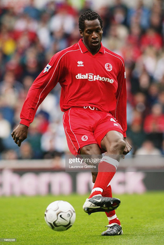 Ugo Ehiogu of Middlesbrough passes the ball during the FA Barclaycard Premiership match between Middlesbrough and Arsenal held on April 19, 2003 at The Riverside Stadium in Middlesbrough, England. Arsenal won the match 2-0.