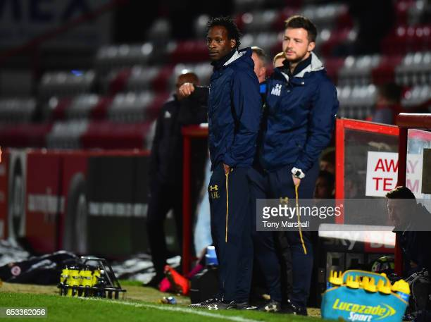 Ugo Ehiogu of Tottenham Hotspur U23 manager during the Premier League 2 match between Tottenham Hotspur and Reading at The Lamex Stadium on March 13...