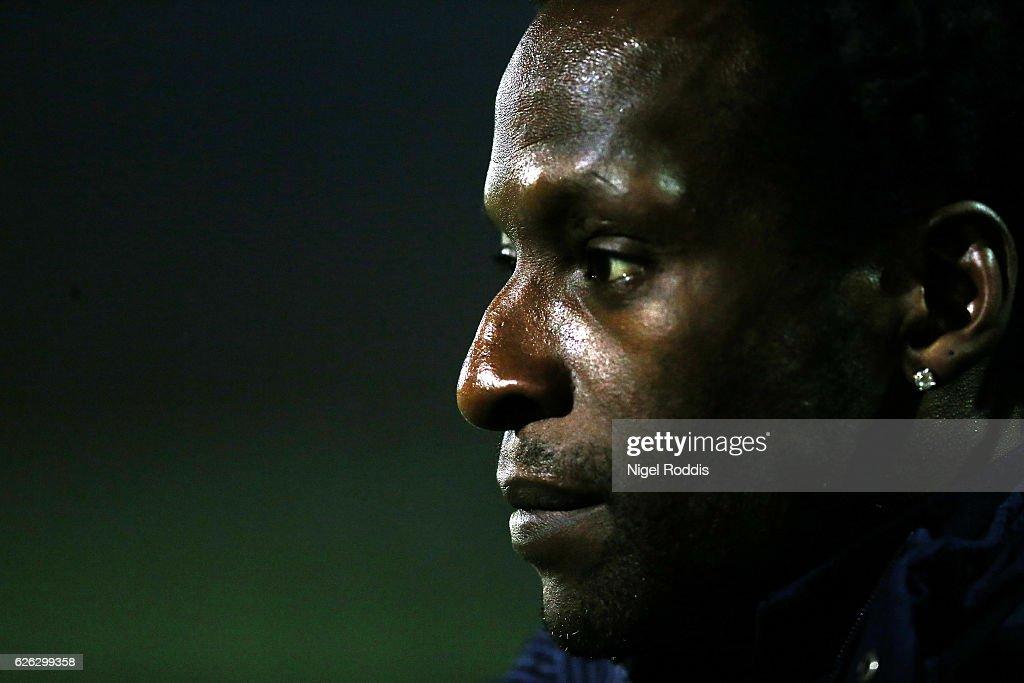 Ugo Ehiogu reserve team coach of Tottenham Hotspur warm up ahead of the Premier League 2 match between Sunderland and Tottenham Hotspur on November 28, 2016 in Sunderland, England.