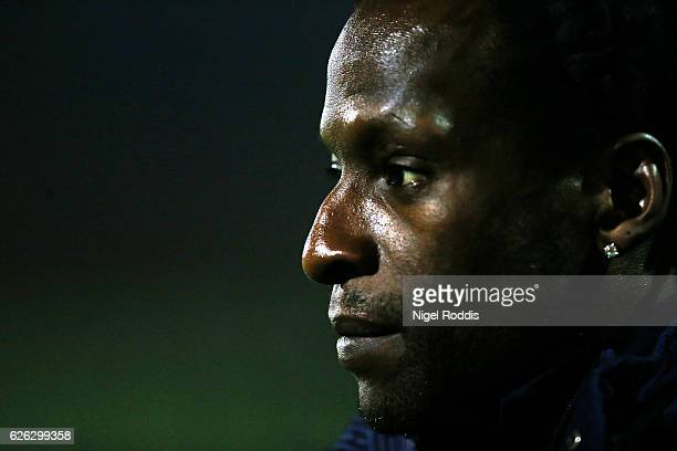 Ugo Ehiogu reserve team coach of Tottenham Hotspur warm up ahead of the Premier League 2 match between Sunderland and Tottenham Hotspur on November...