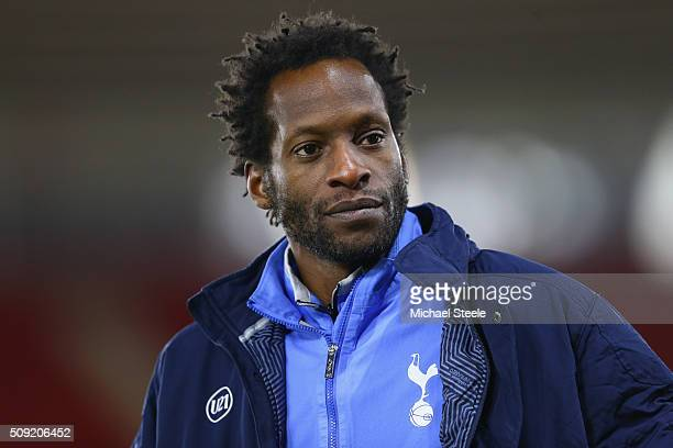 Ugo Ehiogu the coach of Tottenham Hotspur U21 during the Barclays U21 Premier League match between Southampton and Tottenham Hotspur at St Mary's...