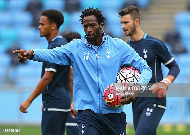 Ugo Ehiogu the coach of Tottenham Hotspur U21 looks on prior to the Barclays U21 Premier League match between Manchester City U21 and Tottenham...
