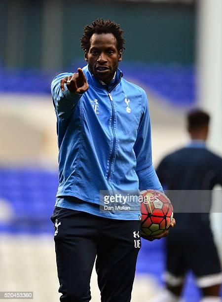 Ugo Ehiogu U21 Coach of Tottenham Hotspur gestures to his players prior to the Barclays U21 Premier League match between Tottenham Hotspur U21 and...
