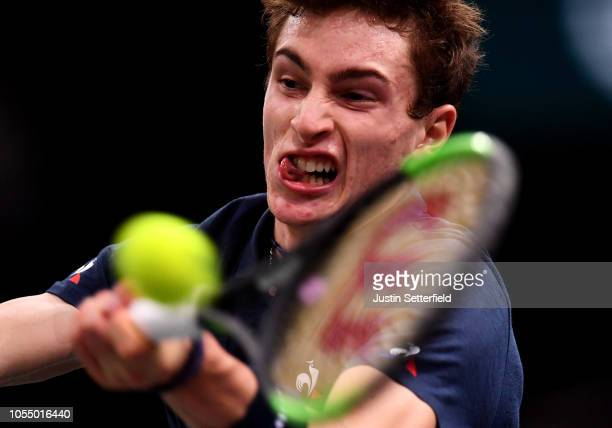 Ugo Humbert of France plays a backhand against Adrian Mannarino of France during Day 1 of the Rolex Paris Masters on October 29, 2018 in Paris,...