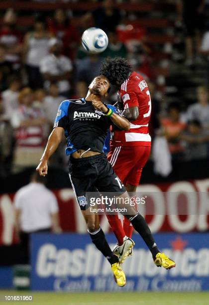 Ugo Ihemelu of FC Dallas fights for a header with Ryan Johnson of the San Jose Earthquake at Pizza Hut Park on June 5 2010 in Frisco Texas