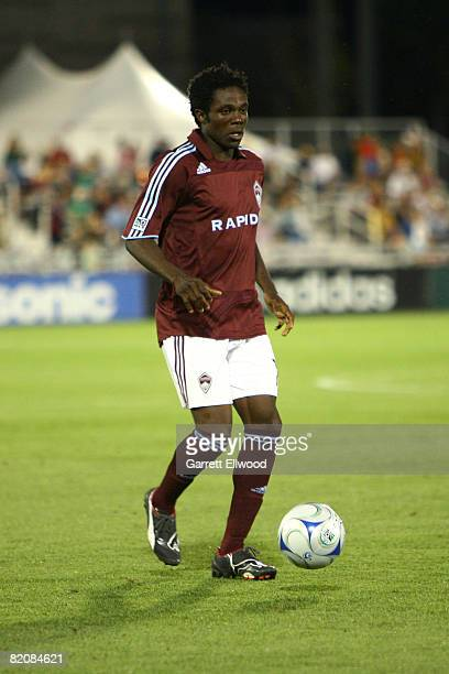 Ugo Ihemelu of the Colorado Rapids controls the ball against the Columbus Crew on July 27, 2008 at Dicks Sporting Goods Park in Commerce City,...