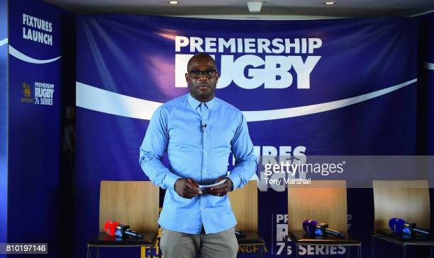 Ugo Monye of BT Sport speaks during the Premiership Rugby Fixture Launch 20172018 at BT Tower on July 7 2017 in London England